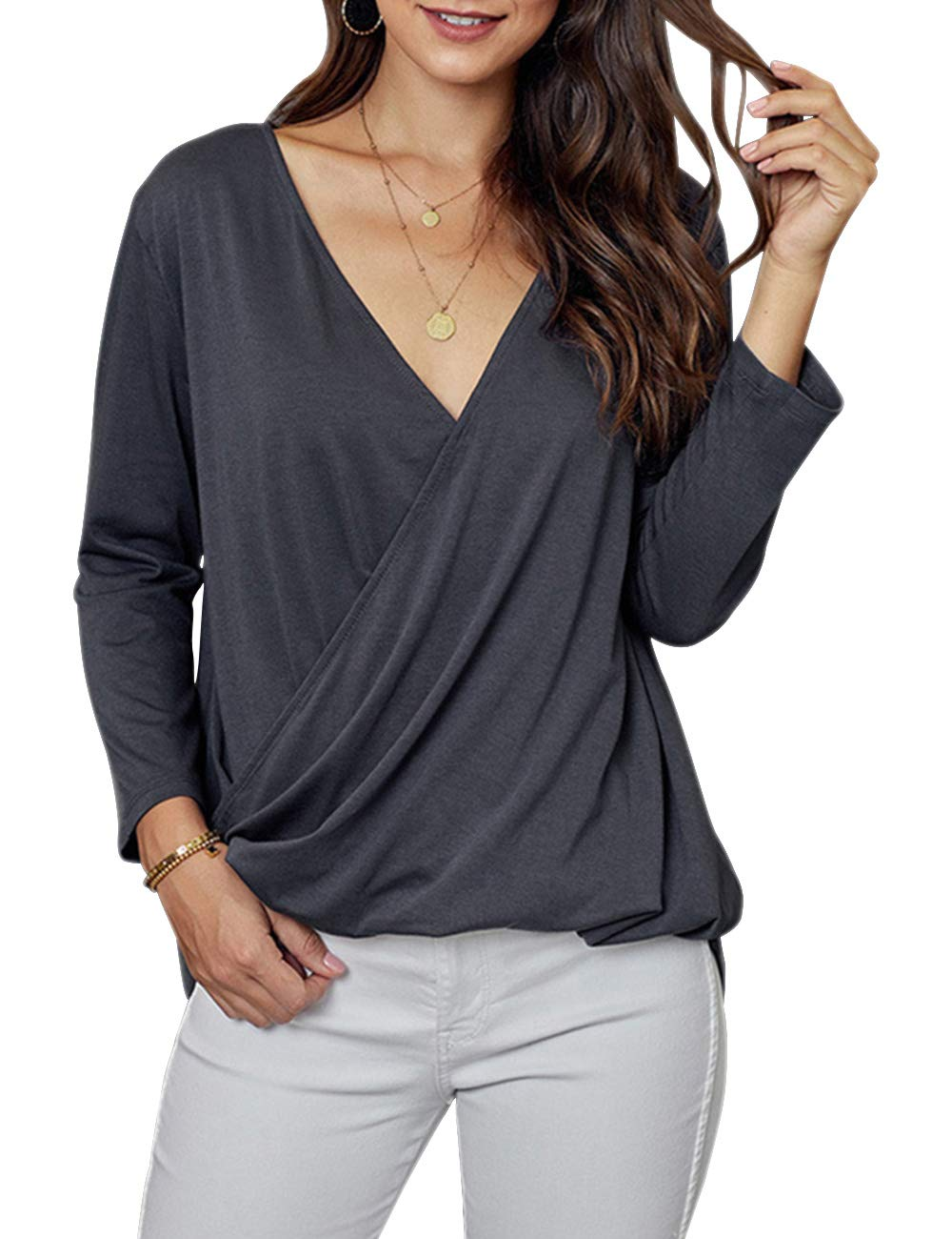 Kelove Women V-Neck Wrap Front Irregular Twist Hem 3/4 Sleeve Solid Color Casual Loose Lightweight Shirts Blouses Tunic Tops Gray by Kelove