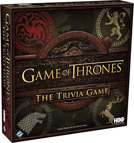 This is an image of the Game of Thrones The Trivia Game book, in dark red colored box.