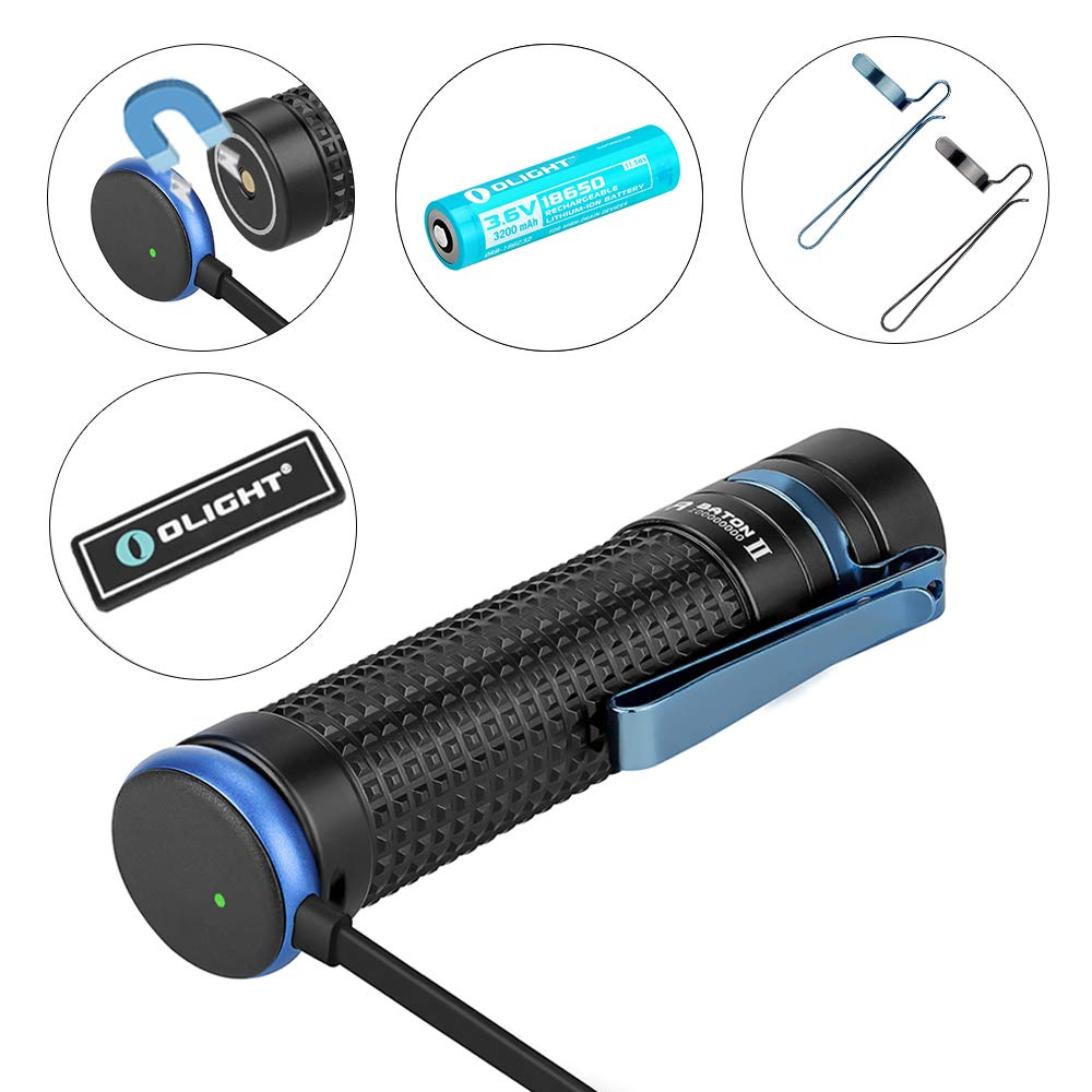 Olight S2R II 1150 Lumens USB Magnetic Rechargeable Variable-output Side Switch EDC LED Flashlight and Olight Patch (S2R II)