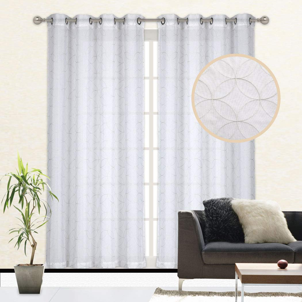 Large Bay Window Curtain Voile Drape Panel For Living Room