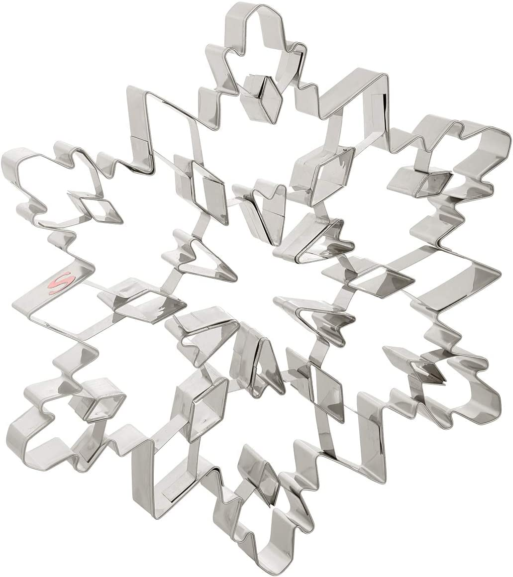 Szxc Large Snowflake Cookie Cutters - Stainless Steel - BPA Free - Dishwasher Safe - 7-1/2 Inch