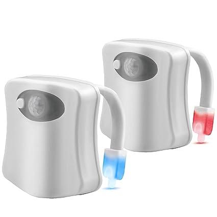 2 unidades LED inodoro luz de noche por dighealth, 8 Color brilla cambiador, activado