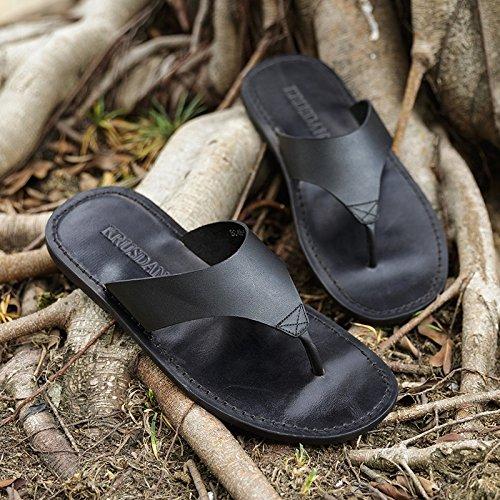 Genuine Man Summer Beach Thong Shoes Black Slip Sandals Vintage Flip Ruiyue Casual Non Leather Shoes Flops W6Pnvg6wq