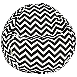 Majestic Home Goods Classic Bean Bag Chair - Chevron Giant Classic Bean Bags for Small Adults and Kids (28 x 28 x 22 Inches) (Black)