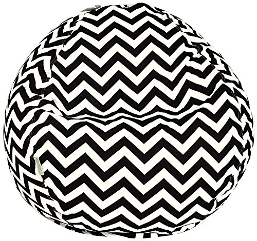 Majestic Home Goods Classic Bean Bag Chair - Chevron Giant Classic Bean Bags for Small Adults and Kids (28 x 28 x 22 Inches) (Black) (Giant Outdoor Bean Bags)