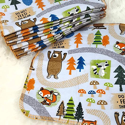 Don't Feed the Bears 12 Pack ECO CLOTH WIPES//100% Cotton ~ Large 8x8'' ~ Double Layer/2 ply by Primm n Proper Baby