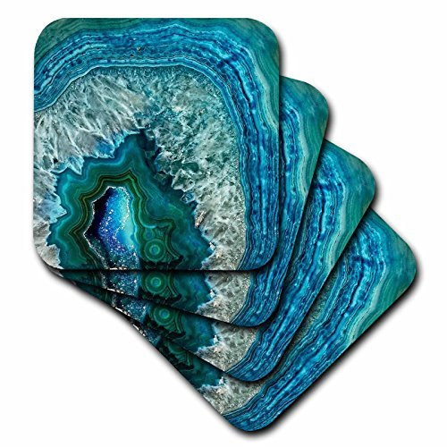 Drink Coasters Luxury Aqua Blue Marble Agate Gem Mineral Stone Rubber Coaster Set of 4 Housewarming Gift 4 inch