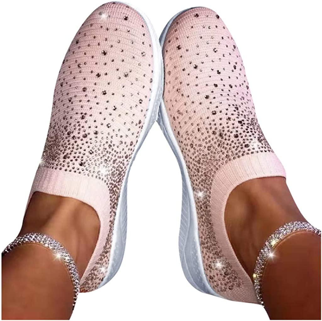 Fainosmny Womens Ladies Ankle Flat Loafers Crystal Fashion Bling Sneakers Casual Shoes Plus Size Slip On Sports Work Shoes