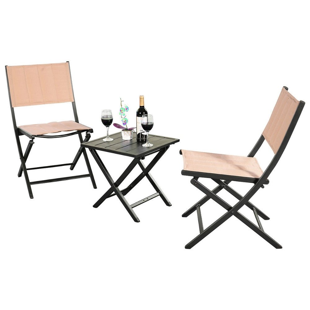 GT Outside Chairs For Porch Small Furniture Patio Furniture for Apartment Balcony Outside Side Table and Folding Chairs Balcony Set Lawn Garden Yard Cushions Garden Furniture & E book By Easy2Find