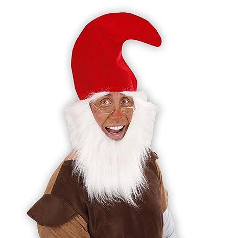 Rosso cappello nanetto con barba nani copricapo folletto cappellino gnomo  diavoletto - circornferenza di testa 54 fefbbf5d125f