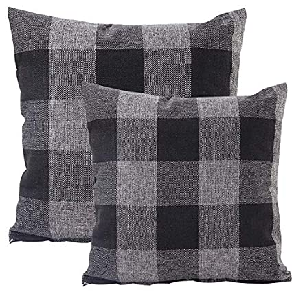 Foucome Country Style Cotton Linen Buffalo Pillow Case Black & Gray Check  Car Bed Sofa Throw Pillow Covers Waist Home Decor Cushion Covers,18 X 18  Set ...