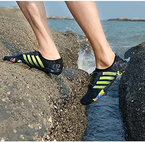 大きいサイズの屋外の男性の女性の5本指キャンバスラバー素材の靴の靴を 柔らかい底カジュアルシューズビーチシューズ(青) ポータブル (色 : Blue, Size : US5)