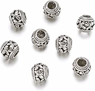 50 Tibetan Alloy European Beads Barrel Carved Large Hole Nickel Free Charms 11mm
