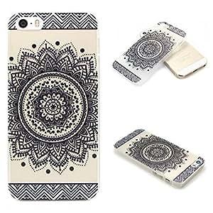 iPhone 5s case, JAHOLAN Henna Series Black Million Spent Ethnic Tribal Transparent Hard Plastic Case Cover for iphone 5 5S