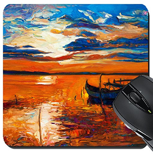 MSD Suqare Mousepad 8x8 Inch Mouse Pads/Mat design 26924639 llect Original oil painting of boats and jetty pier on canvasRich golden Sunset over (Pier Golden)