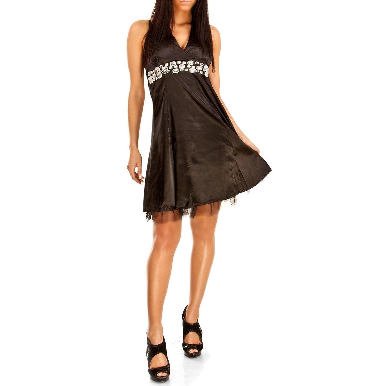 24brands Damen Kleid Neckholder Cocktailkleid Abendkleid Partykleid ...