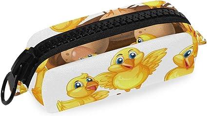 Estuche de lona con cremallera para lápices con diseño de pollitos y huevos en el nido de la escuela, bolsa de maquillaje de gran capacidad, bolsa de viaje para la oficina: Amazon.es: