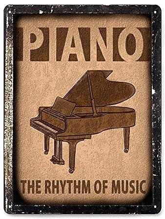Amazon.com : GRAND PIANO METAL sign MUSIC studio retro vintage style ...