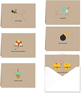 Adorable Animal Thank You Note Card Assortment Pack 36 Cards 6 Designs
