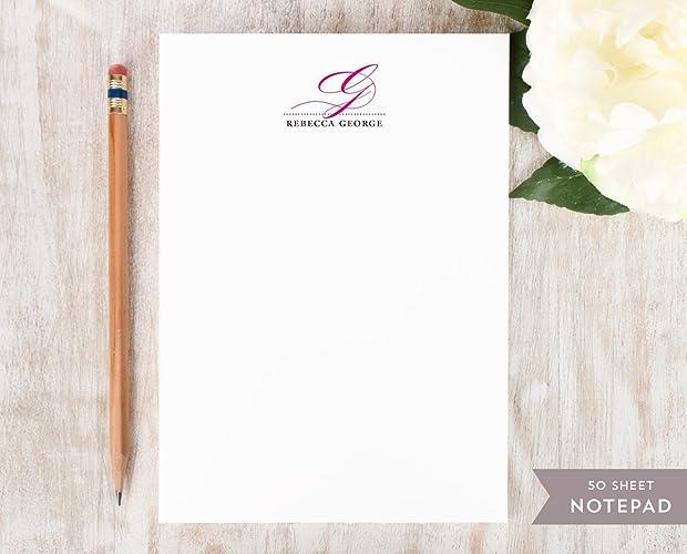 amazon com elegant monogram notepad personalized script