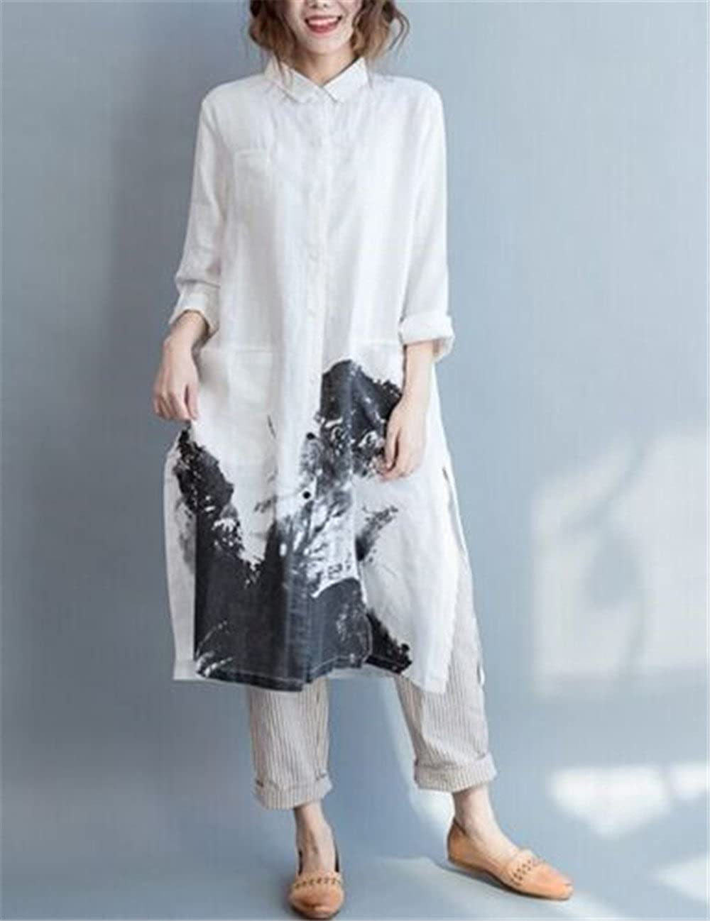 f67c5c5f4 Amazon.com: Yesno Q18 Women Long Button-Down Shirts Blouses Dress Casual  Loose Fit Ink Painting 100% Linen Highly Split Sides,White,X-Large: Clothing