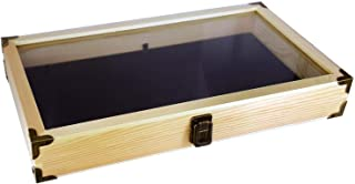 product image for Flag Connections Natural Wood Color Wooden Tempered Glass Jewelry Display Case with Black Velvet Pad