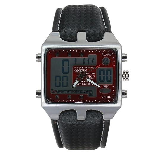 Ohsen banda reloj de cuero rojo hora digital dual
