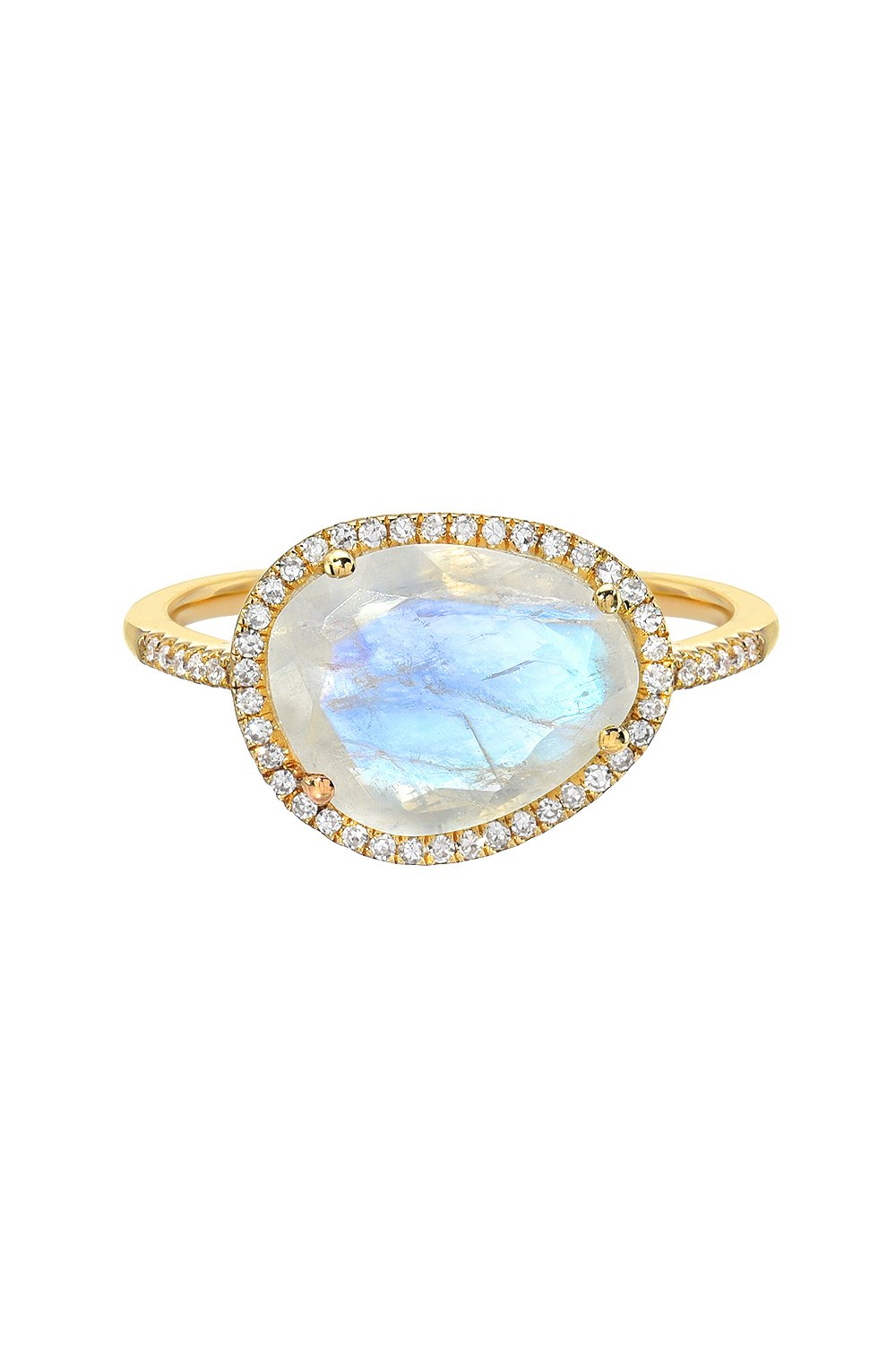 Moonstone ring, 14k gold, pave diamond moonstone by Zoe Lev Jewelry