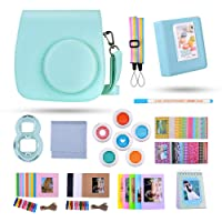 Kaka 13 in 1 Instax Mini 9 Camera Accessories for FujiFilm Instax Mini 9 8 8+ Camera with Mini 9 Case/Album/Selfie Lens/Filters/Wall Hang Frames/Film Frames/Border Stickers/Pen(Ice Blue)