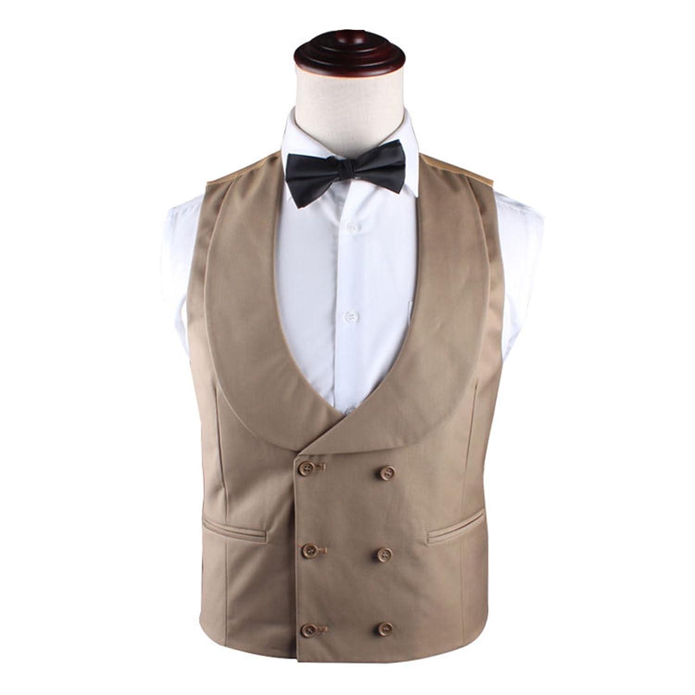 mens stylish double breasted u neck vest gentleman design khaki top 50 off. Black Bedroom Furniture Sets. Home Design Ideas