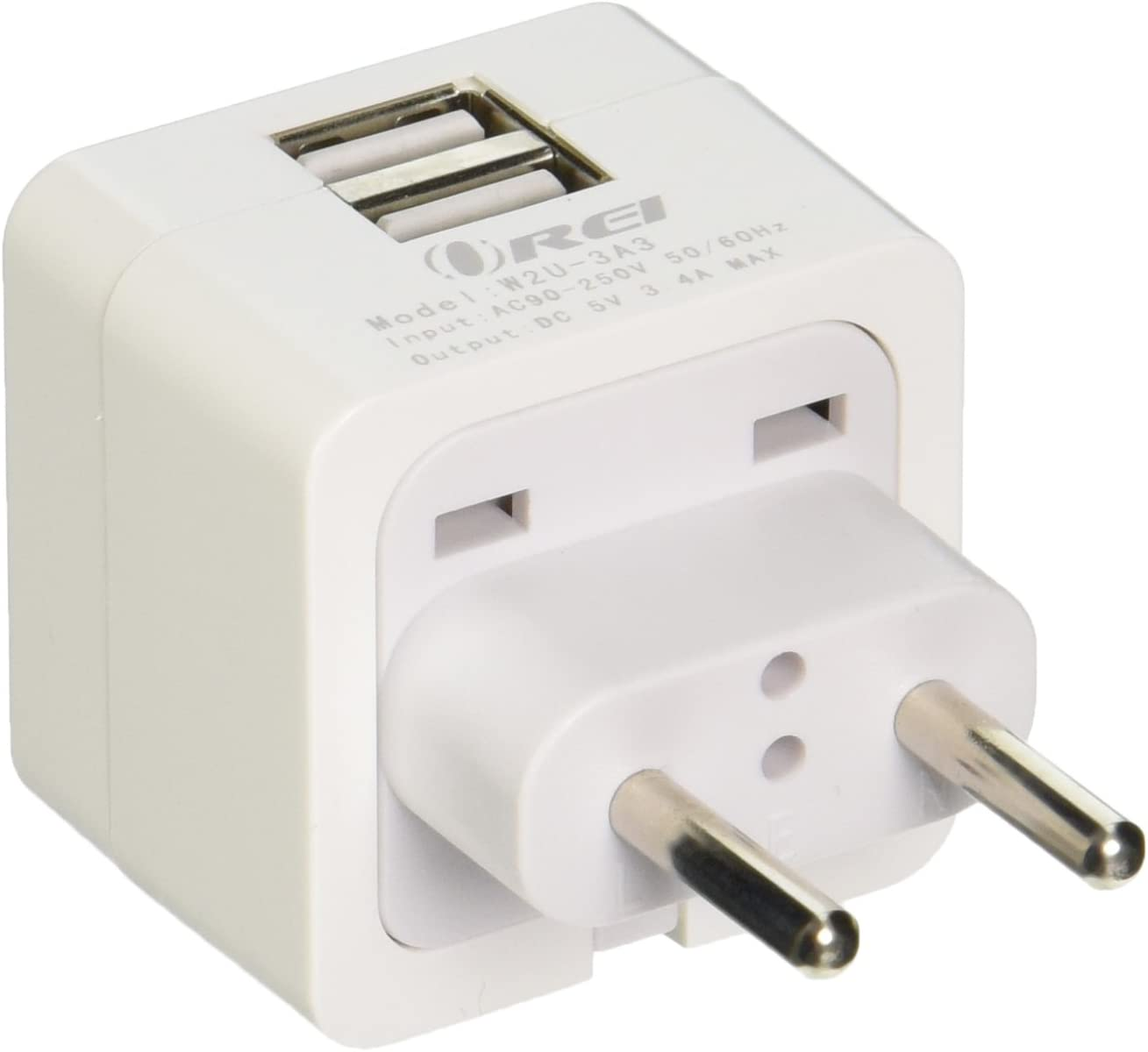 OREI 3.4A 2 USB Plug Adapter Type C for Europe - Compatible with iPhone/iPad, Galaxy & More