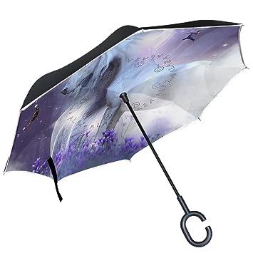 ALAZA unicornio hadas Magic Sparkle Magnolia bosque morado puede paraguas paraguas plegable de doble capa resistente