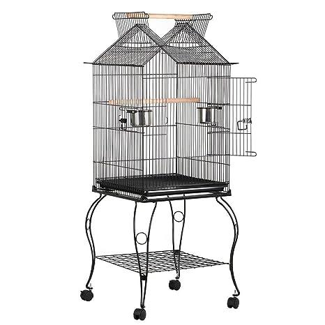 Yaheetech Jaula para Pájaros Jaula con Soporte Ruedas 59 x 59 x 145 cm