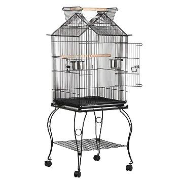 Yaheetech Jaula para Pájaros Jaula con Soporte Ruedas 59 x 59 x 145 cm: Amazon.es: Productos para mascotas