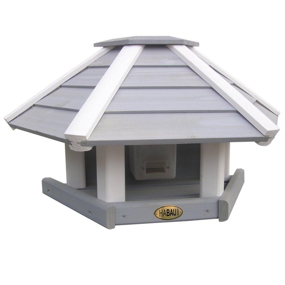Habau 2517 Wall-mountable Bird House with Silo Grey White