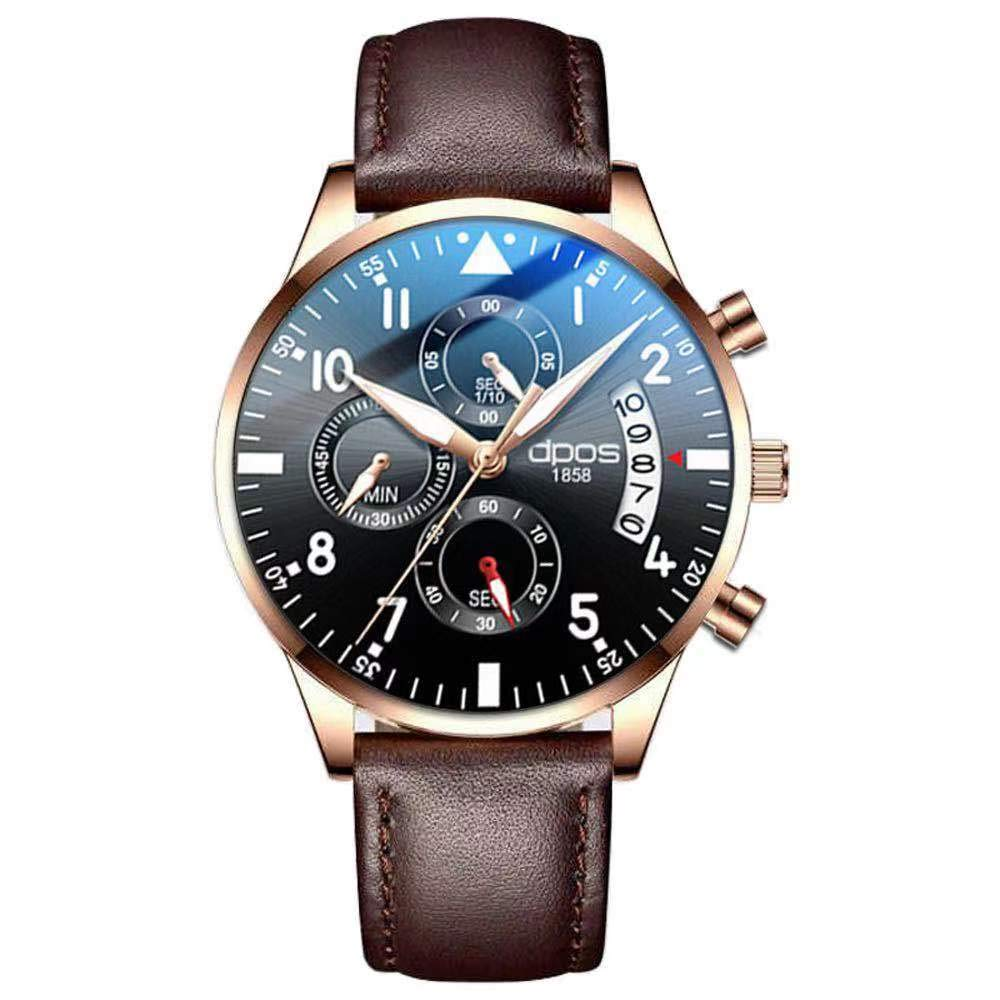 DPOS Reloj para hombre Reloj de pulsera ultrafino resistente al agua Fecha Calendario Dial Correa de malla