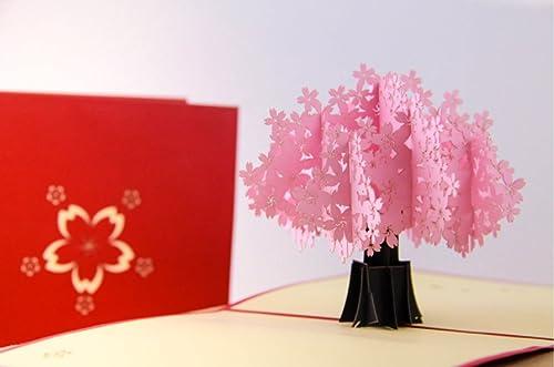 Tarjeta popup 3D pop-up hecho a mano rosa Sakura árbol de ...
