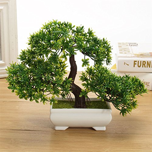 Fashionwu Bonsai Tree Mini Artificial Plant, Not Faded Office Home Decoration (1 Pcs Green)