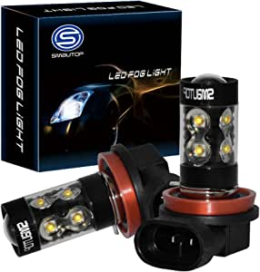 Smautop H11 LED Fog Lights Bulbs with Projector High Power 6000K White H11 LED Bulb for DRL Daytime Running Light Pack of 2-2 Yr Warranty