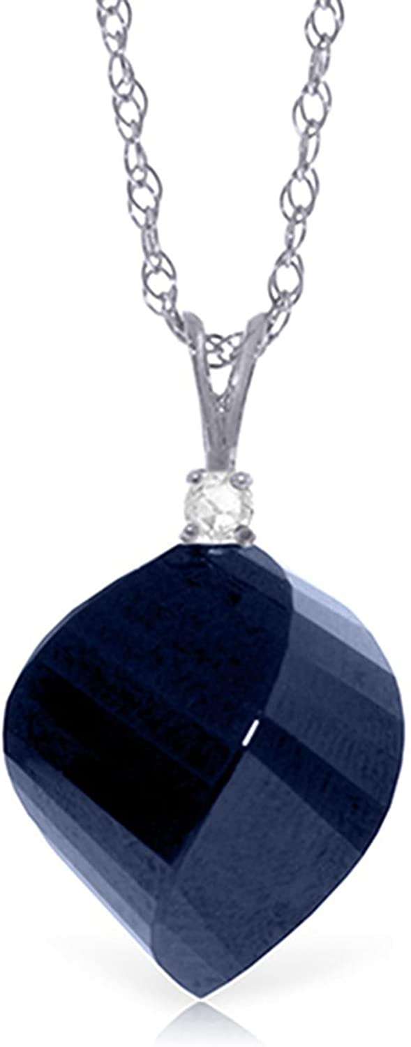 ALARRI 15.3 Carat 14K Solid White Gold Necklace Diamond Twisted Briolette Sapphire with 20 Inch Chain Length