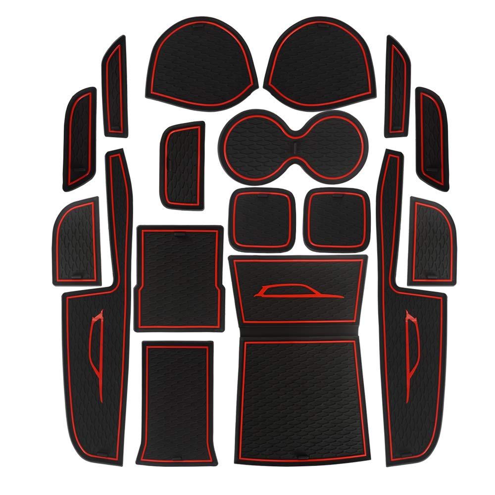 LITTOU Custom Fit Cup Holder, Door, Console Liner Accessories Interior Door, Anti-dust, Non-slip, Storage Mats Automotive Decoration for Suzuki Vitara 2016-2018 (Pack of 17) (red) ConsoleLinerAccessories Interior Door