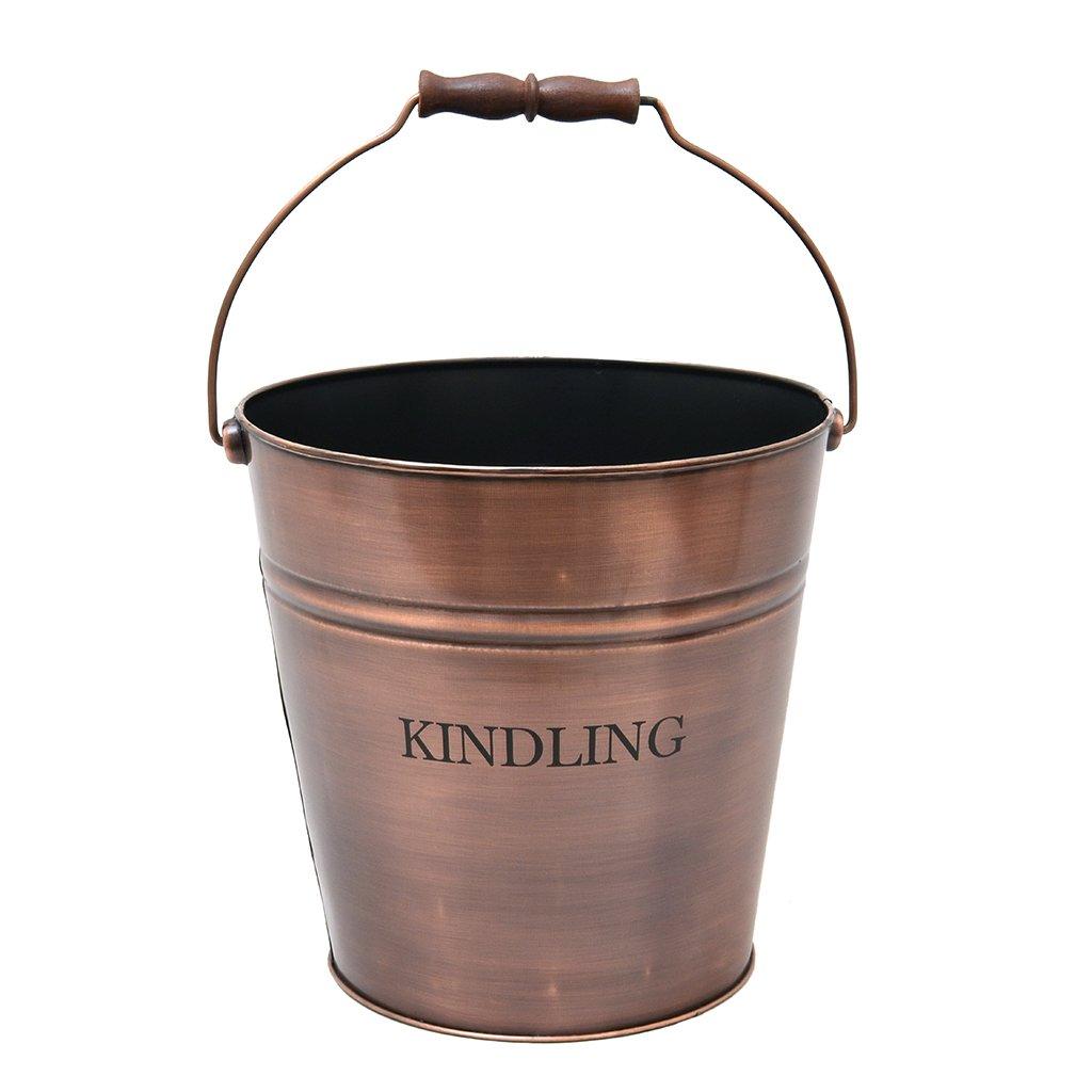 Antique Finish Copper Kindling Fireside Wood Scuttle Bucket (17L) Dibor