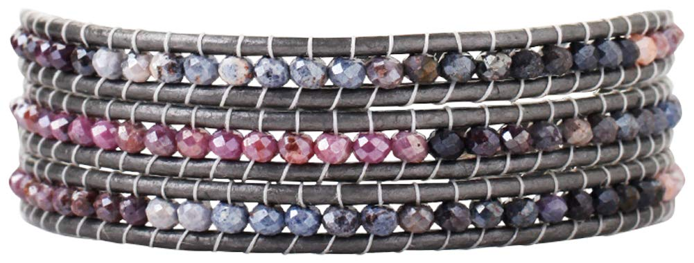 Chan Luu Lilac Mix Semi Precious Stones On A Natural Grey Leather Wrap Bracelet