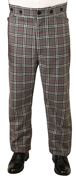 Men's Vintage Pants, Trousers, Jeans, Overalls   Reilly Plaid Dress Trousers Historical Emporium Mens High Waist Wool Blend  $62.95 AT vintagedancer.com
