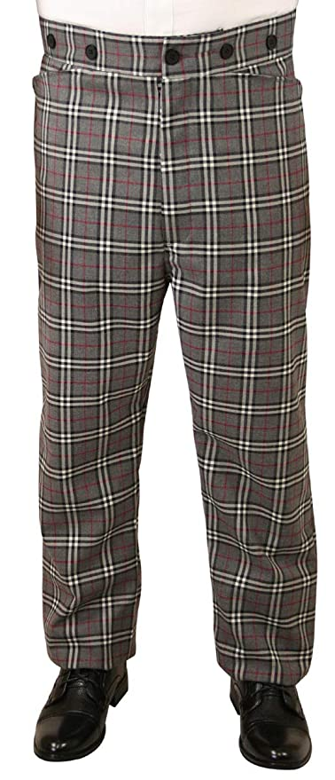 Victorian Men's Pants – Victorian Steampunk Men's Clothing Historical Emporium Mens High Waist Wool Blend Reilly Plaid Dress Trousers $62.95 AT vintagedancer.com