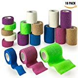 """MEDca Self Adhesive Non Woven Cohesive Bandage COMBO PACK 1 Inch 2 Inch and 3 inch X 5 Yards 6 of Each Size Total of 18 Rolls 'Rainbow Color"""""""