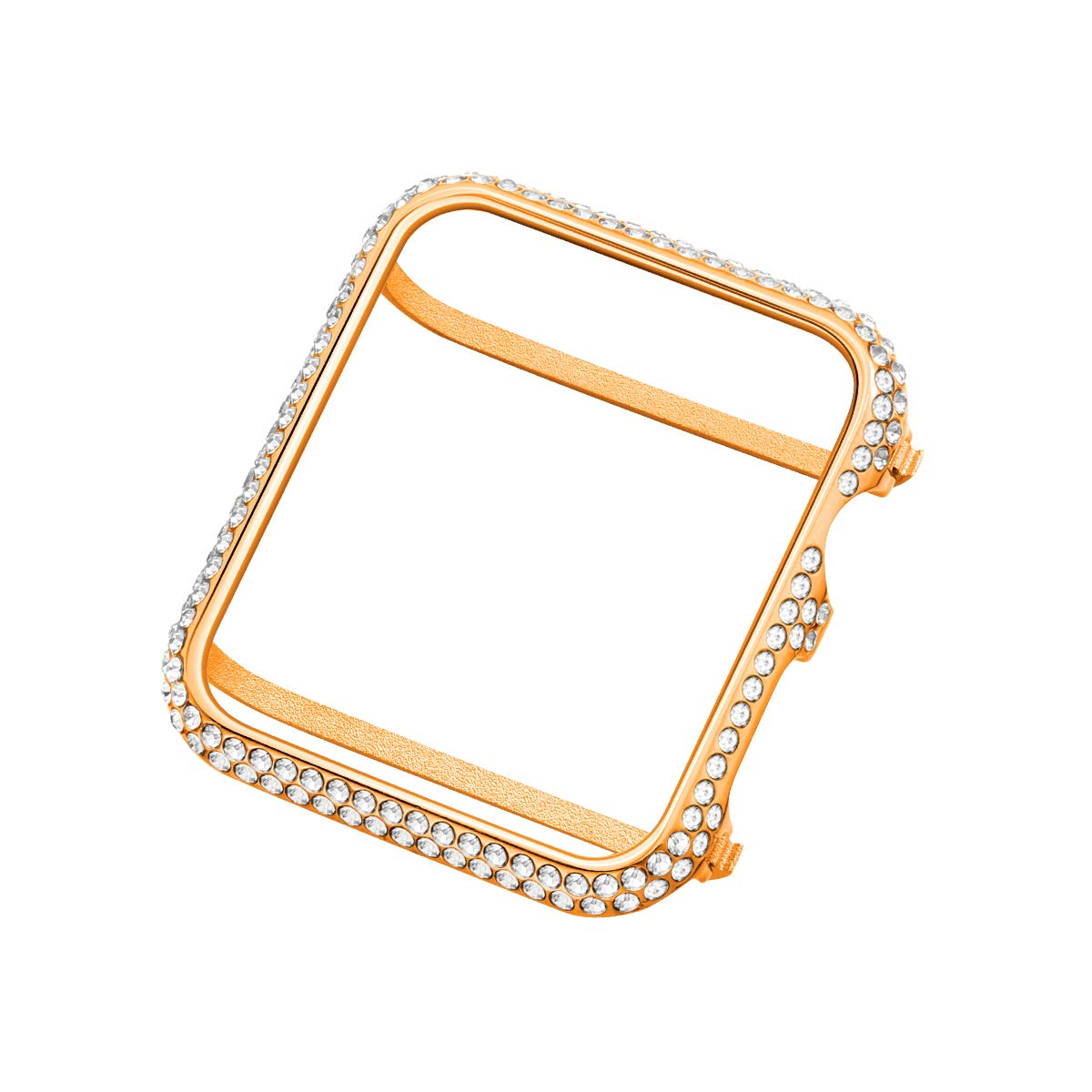 UKCOCO Compatible Apple Watch 42mm Diamond Case, Aluminum iWatch Bezel Metal Cover Crystal Rhinestone Protective Protector Cover for iWatch Series 1/2/3 Sport and Edition (42mm Rose Gold)