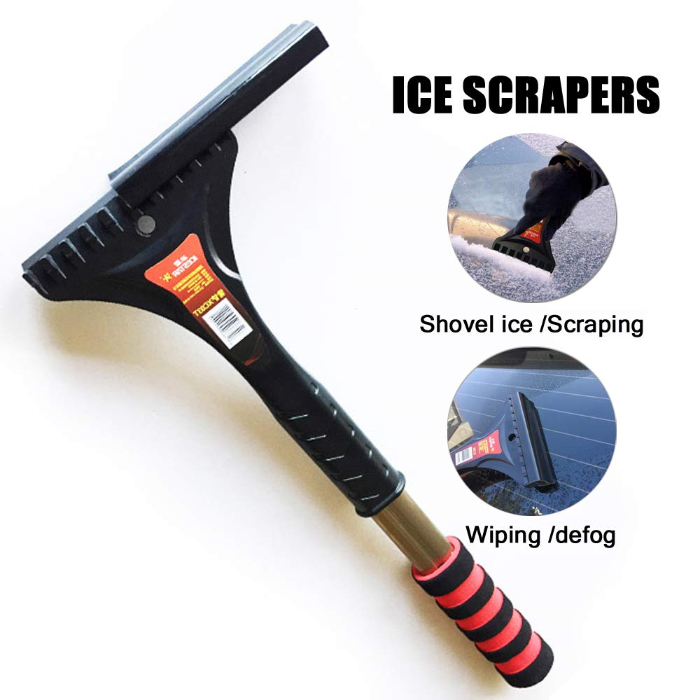 LJNH Premium Ice Scraper with Soft Grip Heavy-duty Frost & Snow & Water Removal for Car Windshield and Window