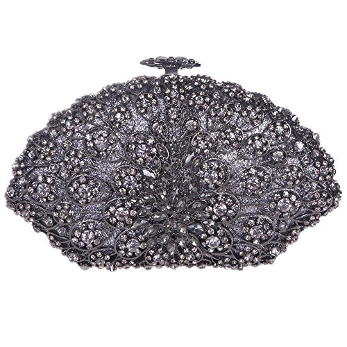 Damen Clutch Abendtasche Handtasche Geldbörse Glitzertasche Strass Kristall Kreissektor Tasche mit wechselbare Trageketten von Santimon(4 Kolorit) Schwarz 476hvLqdq