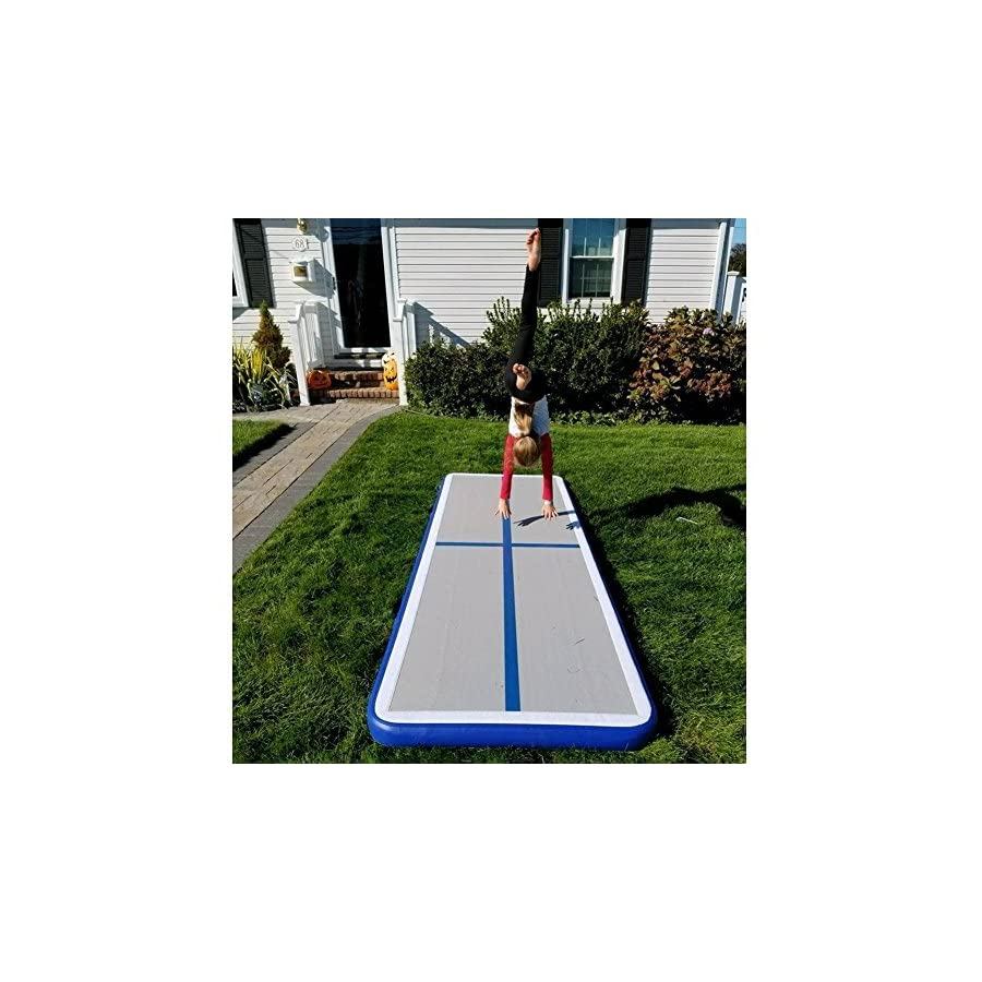 Rolimate Inflatable Air Track Tumbling Gymnastic/Yoga/Taekwondo/Water Floating/Camping Foldable Training Anti slip Mat with 500W Electrical Pump and Includes Carry Bag